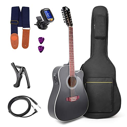 Vangoa 41 Inch 12 Strings VGK41-12BKCE Black Acoustic Electric Cutaway Guitar 4 Band EQ Starter Kit Black Cutaway Acoustic Guitar