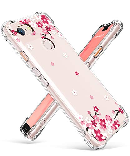 GVIEWIN Designed for Google Pixel 3 XL Case Only, Clear Flower Pattern Design Soft & Flexible TPU Slim Fit Shockproof Transparent Floral Cover Case (Will Not fit Pixel 3) (Peach Blossom/Pink)