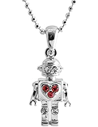 Crystal Tiny Red Heart Robot Necklace