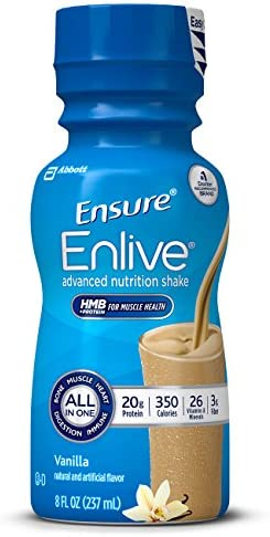 Ensure Enlive Advanced Nutrition Shake with 20g of High-Quality protein, Meal Replacement Shakes, Vanilla, 8 fl oz, 16 Count
