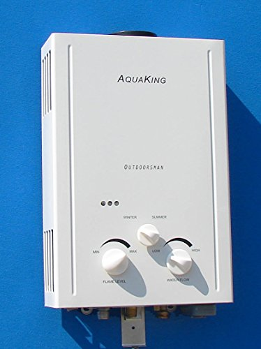 Aquaking Outdoorsman Tankless Water Heater - Propane (LPG) - Portable - Battery Powered Ignition - Camping - RV