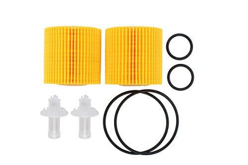 NewYall Pack of 2 Oil Filter 04152-YZZA1 w/Gasket Seal O-Ring Element for Toyota Lexus 2.5L 3.5L Replaces OF5608