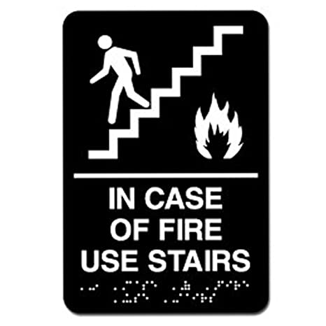 Exceptionnel In Case Of Fire Use Stairs ADA Sign (Black)