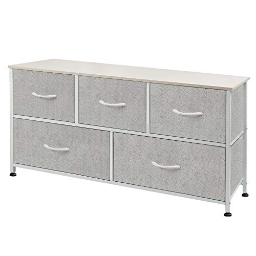 WLIVE Dresser with 5 Drawers, Fabric Storage Tower, Organizer Unit for Bedroom, Hallway, Entryway, Closets, Sturdy Steel Frame, Wood Top, Easy Pull Handle (Dresser Long Cheap)