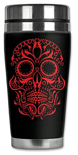 Mugzie MAX - 20-Ounce Stainless Steel Travel Mug with Insulated Wetsuit Cover - Red Sugar Skull