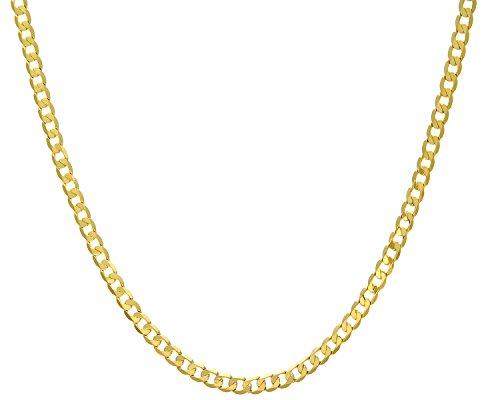 Revoni Bague en or jaune 9carats-12,2G-Collier Femme-Maille Gourmette, longueur 46cm/45,7cm, Largeur: 5.1mm