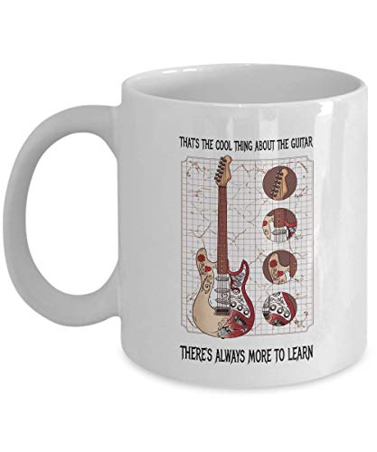Photo Guitarist Coffee Mug - Cool Thing About Guitar More To Learn - Band Vocalist Drummer Keyboardist Bassist Musical Instrument Monterey Musician 11 Oz