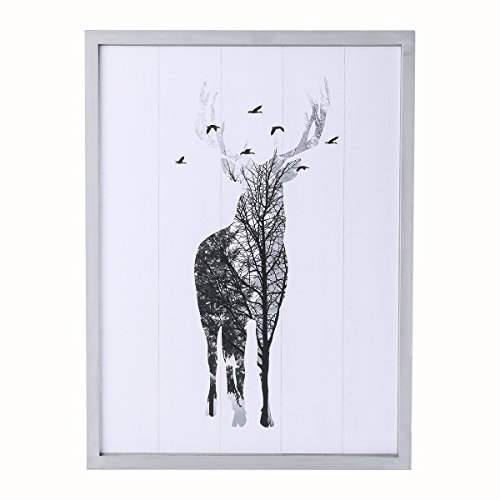 (NIKKY HOME Decorative Deer Wood Framed Wall Picture Art Wildlife Prints Cabin Lodge Decor, 11.9 x 0.91 x 15.8 inches, White and Gray)