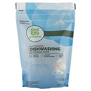Grab Green Natural Automatic Dishwashing Detergent, Fragrance Free, 24 Count