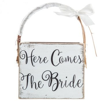 Here Comes The Bride Wood Basket Wedding Keepsake Gift]()