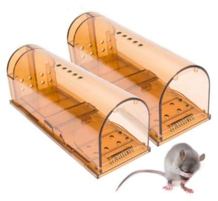 Humane mouse trap, Reusable Cage Box, Live Catch And Release Rodents And Mice, No Kill No Glue No Poison, Safe Around Pets And Childen (2 Pack)