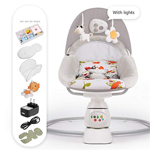 Infant Bouncers & Rockers Swings & Chair Bouncers Baby Rocking Chair Safe Electric Cradle Chair Soothing The Baby's Artifact Sleeps The Newborn Sleeping Rocking Cradle,gray4