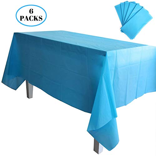 Kelkaa Party 6 Pack Premium Plastic Tablecloth 54 x 108 Inches Disposable Rectangle Table Cover for Indoor or Outdoor Birthday, Wedding, and Any Party Themes, Turquoise Blue ()