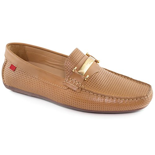 - Mens Genuine Leather Made in Brazil Bryant Park Tan Perforated MJ Bit Loafer 11
