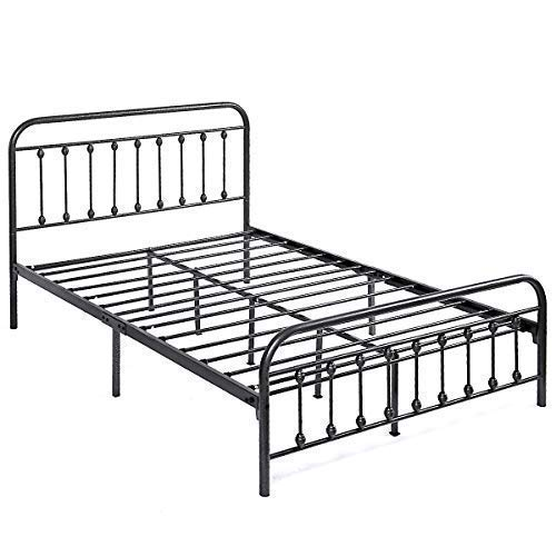 Elegant Home Products Victorian Vintage Style Platform Metal Bed Frame Foundation Headboard Footboard Heavy Duty Steel Slabs Queen Full Twin Silver Gray Finish Queen