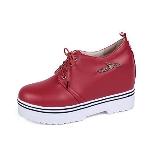 AllhqFashion Damen Eingelegt Schnüren Weiches Material Rund Zehe Pumps Schuhe Rot