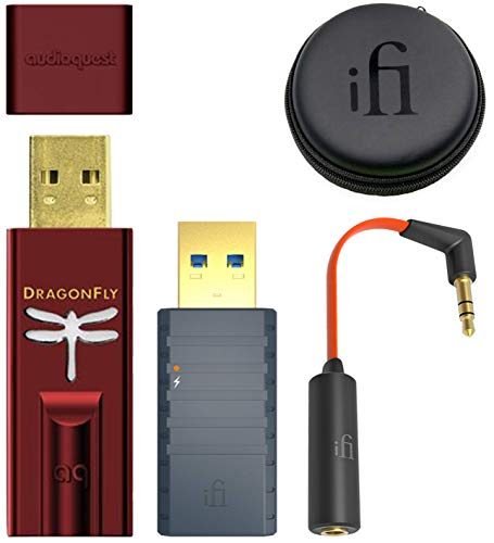 AudioQuest Dragonfly Red USB DAC/Headphone Amplifier/Preamp Bundle with iFi iSilencer 3.0 EMI Noise Suppressor and Ear Buddy Attenuator Cable for Headphones, in-Ear ()