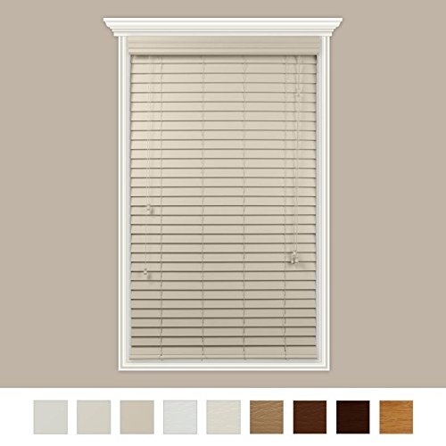 Custom-Made 2″ Faux Wood Horizontal Blinds With Easy Inside Mount -72″ x 60″Butter Cream Smooth By Luxr Blinds