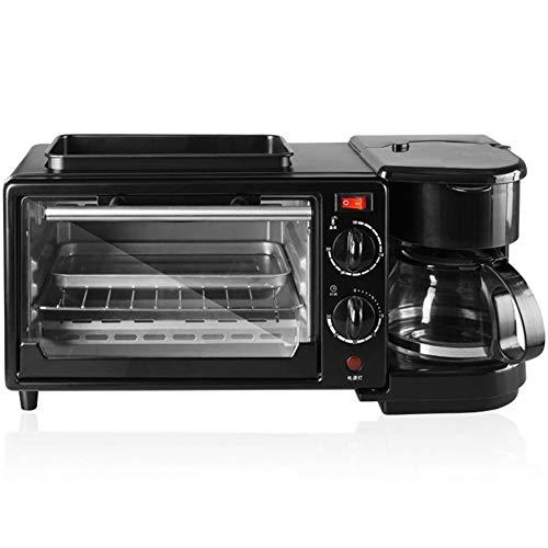 (XIAOKUKU Multi-Function Three-in-one Breakfast Machine, Toast Slice Toaster Home Breakfast Machine Artifact Automatic Coffee Machine,Black)