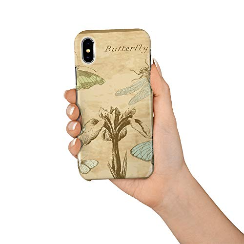 Compatible with iPhone X Case, Hard PC Back Phone Case with Tempered Glass Screen Protector Butterfly Dragonfly Postcard Pamphlet Shockproof Protective ()