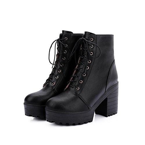 Boots PU up High AmoonyFashion Heels Women's Round Solid Toe Closed Lace Black 0vqxfBFwq