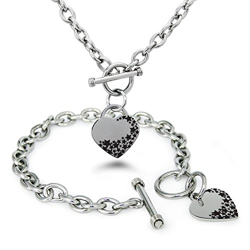 Tioneer Stainless Steel Follow Your Own Star Heart Charm, Bracelet and Necklace Set