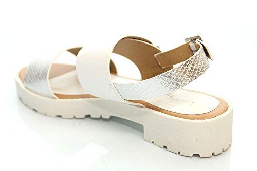 F11149G - Sandales à brides et semelles compensées - motif serpent - blanc