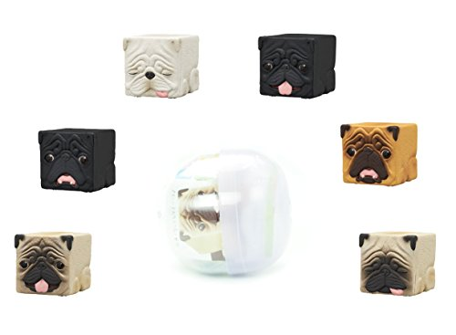 Hako Pug Box Cube Dog Blind Box Gashapon Toy Figure ( 1 Random Mini Figure)