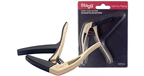 Stagg SCPX-CU CLWOOD Curved Trigger Capo for Acoustic or Electric Guitar-Light Wood