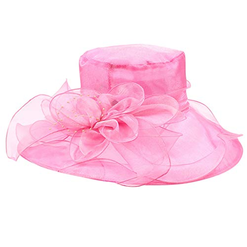 (YYVVAA Ms. Organza Flowers Big Sun Hat Foldable Cooling Hat Sun Visor Sun Hat Hot Pink)