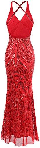 Femme fashions Art de V Paillette Col Angel Longue Licou Gaine Robe Deco Rouge Soiree 5SBxp