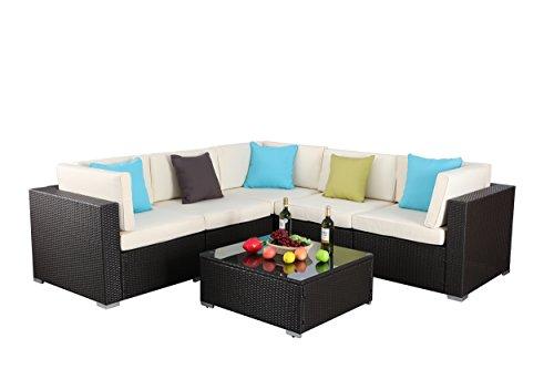 Do4U 3-12 Pieces Outdoor Rattan Sofa Wicker Sectional Patio Furniture set | Patio, Backyard, Pool (9010-EXP-6 Pieces,A) 11 Piece Furniture
