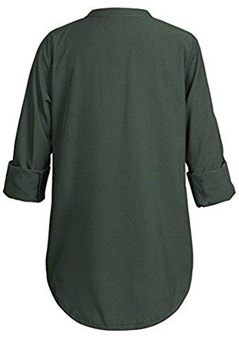 Vert V Femme Chemisier Top Tunique Col Chic Manches Longues Mousseline 3 4 YOGLY Shirt Chemisier Longue Blouse TaxxU