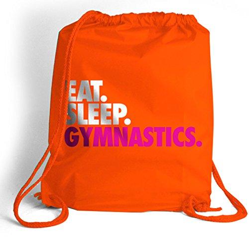 Eat. Sleep. Gymnastics. Cinch Sack   Gymnastics Bags by ChalkTalk SPORTS   Orange