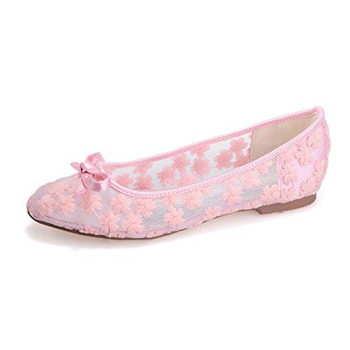 Fanciest Women's Bridal Wedding Prom Party Evening Lace Ballet Flats Pump Shoes 9872-21 Pink Hmfoa0Gz