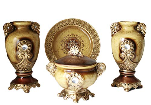 - ZanZour Luxury Antiques 2 Ceramic Vases, 1 Bowl & 1 Decorative Plate (Set of 4 Pieces) for Home Decor Gold Brown