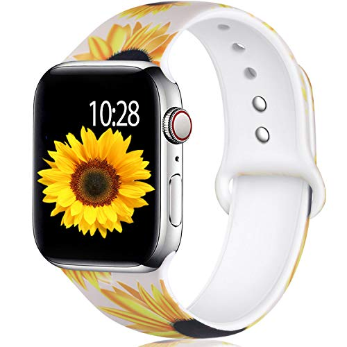 Laffav Compatible with Apple Watch Band 40mm 38mm for Women, Sunflowers, M/L