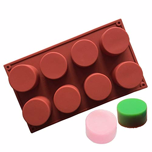 Cookie Cylinder - Echodo 8-Cavity Round Cylinder Soap Mold Cupcake Silicone Mold Handmade Cylinder Mold for Cake, Bread, Cupcake, Cheesecake, Cornbread, Muffin, Brownie, Bakeware Pan Tool etc.