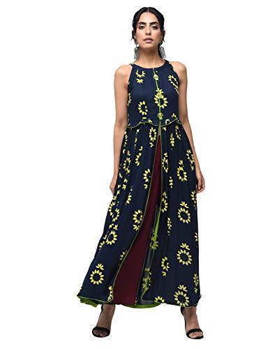 Zoeyams Womens Multicolored Rayon Printed Long Anarkali Kurta