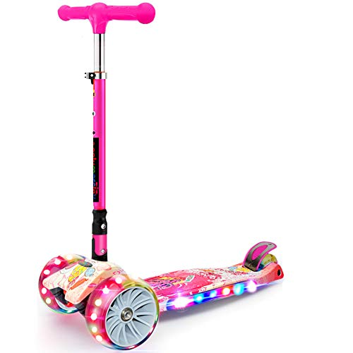 JIAAE Children Scooters Outdoor Travel Foldable Portable Flash Colorful Pedal Scooter with Music Suitable for 3-12 Years Old,Candycolorful (Best Stunt Scooter For 12 Year Old)