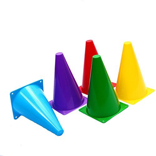 Dazzling Toys Assorted Colors Plastic Indoor/outdoor Flexible Cone Traffic Cones - Pack of 12 7 Inch Cones (Plastic Traffic Signs)