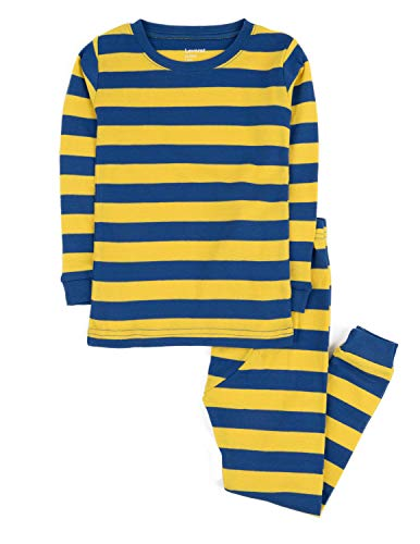 Leveret Striped 2 Piece Pajama Set 100% Cotton (14 Years, Blue & Yellow) -