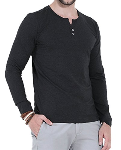 Aiyino Mens Casual Slim Fit Long Sleeve Henley T-Shirts Cotton Shirts