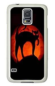 Samsung Galaxy S5 Black Cat Halloween Pumpkin Art70 PC Custom Samsung Galaxy S5 Case Cover White