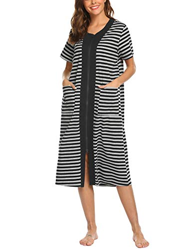 Ekouaer Zipper House Dresses Long Sleepwear Cotton Nightgowns Short Sleeve Housecoat with Pockets for Women Black (Long Zip Coat)