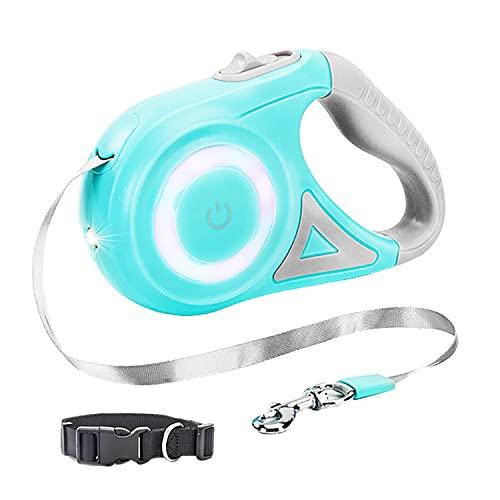 Retractable Dog Leash, LED Pet Walking Leash with Anti-Slip Handle,10ft, Dog Collar Set, Blue Green