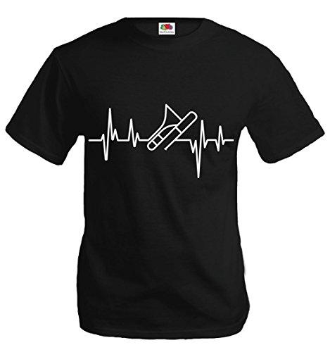 T-Shirt Musikfrequenz-Posaune-XL-Black-White