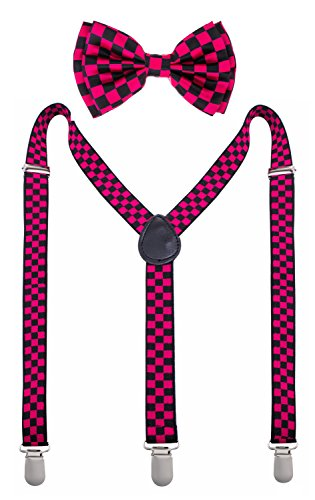 Man of Men - Bowtie & Suspender Set - Patterned Colors (Black & Pink Checkered)
