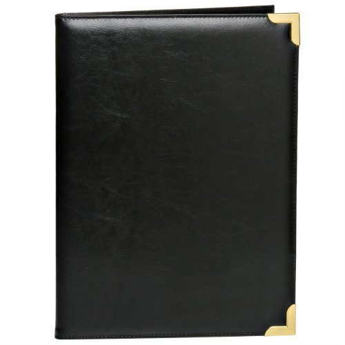 Bags For Less Deluxe Black Padfolio with Gold Accents