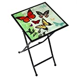 CEDAR HOME Side Table Outdoor Garden Patio Metal Accent Desk with Square Hand Painted Glass, Butterfly